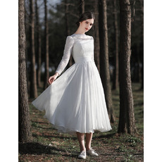 Perfect V-back Short Summer Lace and Chiffon Wedding Dresses with Long Sleeves