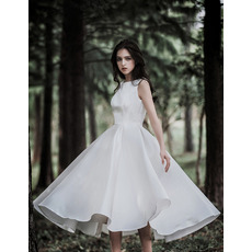 Simple Tea-Length Summer Satin Wedding Dresses with Pleated Skirt