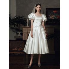 Elegance Tea-Length Pleated Satin Wedding Dresses with Chic Balloon Sleeves