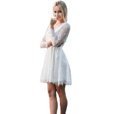 Sexy Deep V-neck Knee-Length Beach Lace Wedding Dresses with Three-quarter Sleeves