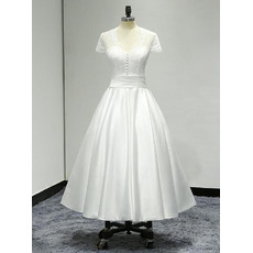 Perfect Tea-length Satin and Lace Summer Wedding Dresses with Cap Sleeves