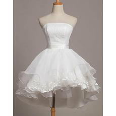 Cute Ball Gown Asymmetrical Hem Mnini Summer Wedding Dresses with Tiered Skirt