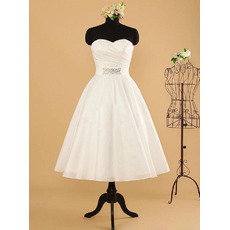 Simple Tea-Length Summer Beach Taffeta Wedding Dresses with Ruched Bust