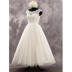 Perfect Low V-back Tee Length Tulle Wedding Dresses with Lace Bodice