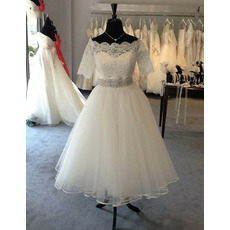 Romantic Appliques Tee Length Tulle Wedding Dresses with Beaded Crystal Belt