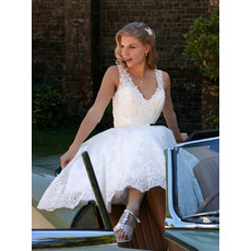 Perfect Beaded Appliques Tee Length Tulle Wedding Dresses