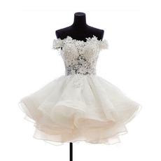 Cute Floral Appliques Off-The-Shoulder Short Wedding Dresses with Tutu Skirt
