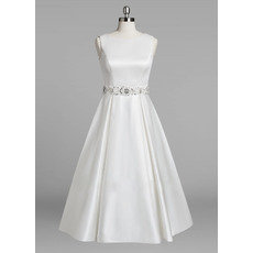 Seductive Exposed Back Tea-Length Satin Wedding Dresses with Beading Crystal-adorned Waist