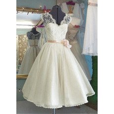 Graceful V-neckline Tea Length Summer Wedding Dresses
