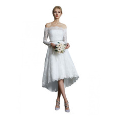 Classy High Low Asymmetrical Hem Summer Lace Wedding Dresses with 3/4 Length Sleeves