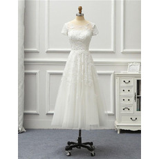 Classy Appliques Beaded Tea Length Tulle Wedding Dresses with Short Sleeves