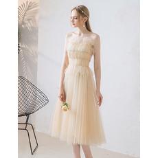 Fairytale Tea Length Pleated Tulle Wedding Dresses with Beaded Ruffle Detail
