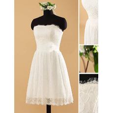 Petite Strapless Tea Length Lace Wedding Dresses with Handmade Flowers