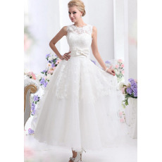 Graceful High Jewel Neckline Ankle Length Wedding Dresses with Lace Overlay Skirt