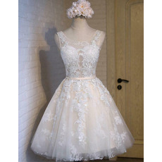Beautiful Floral Appliques Tea Length Tulle Wedding Dresses