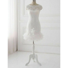 Stunning Sheath Mini Lace Wedding Dresses with Petal Detailing