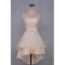 Stylish Asymmetrical High-Low Beach Wedding Dresses with Layered Skirt