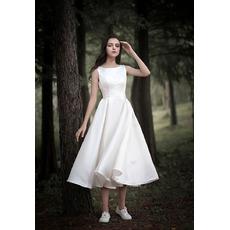 Simple Scoop Neckline Tea-length Satin Summer Wedding Dresses