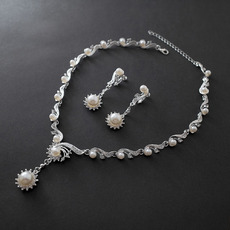 Dainty Sparkling Crystal and Pearl Necklace and Earring Set