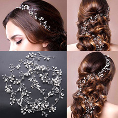 Delicate Crystal Bridal Tiara/ Pearl Bride Wedding Headpieces/ Hair Jewelry/ Wedding Hair Vine