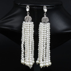 Classy Pearl and Crystal Teardrop Earrings with Crown-inspired with Fringe
