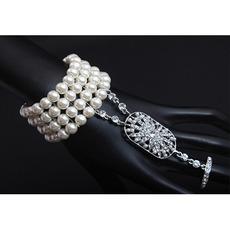 Dainty Crystal Pearl Silver Bracelets