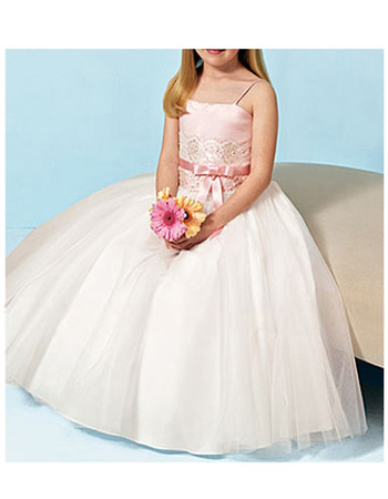 A-line Beaded Spaghetti Straps Long Satin Tulle Flower Girl Dresses