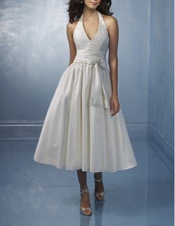 Classic Elegant A-line V-neck Tea Length Taffeta Beading Wedding Dress