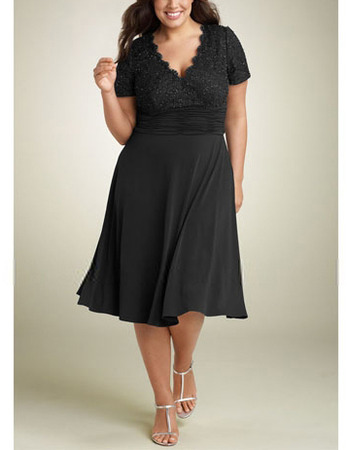 A-line V-neck Short Sleeves Knee-length Plus Size Mother Formal Dress