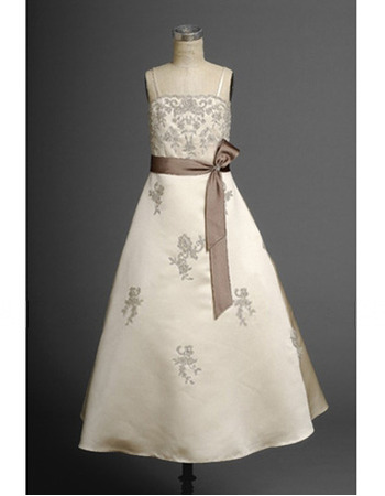 Beautiful A-line Spaghetti Straps Long Flower Girl Dresses with Sashes