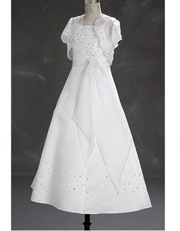 A-line Spaghetti Strap Beading White Organza First Communion Dresses with Jacket