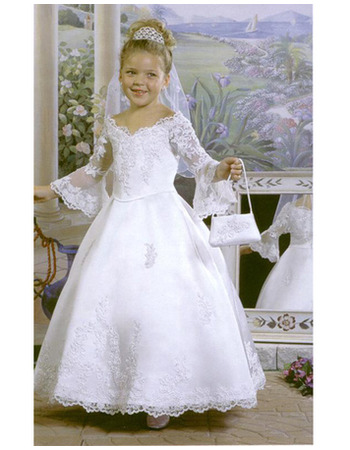 Ball Gown Appliques Off-The-Shoulder White Satin First Communion Dresses wtih Long Bell Sleeves