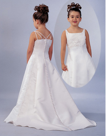 Elegant A-line Square Flower Girl Dresses/ Hot Sale Chapel Satin Designer First Communion Dresses