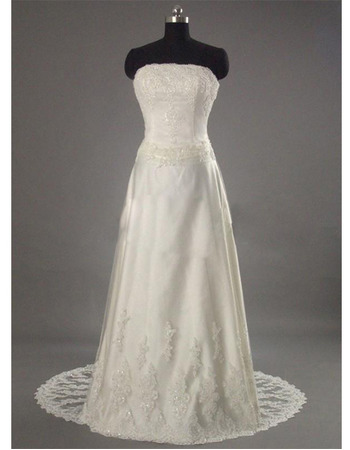 Affordable A-Line Strapless Court Train Beading Appliques Wedding Dress