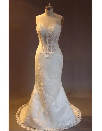 Sexy Luxury Beading Appliques Mermaid Court Train Satin Beading Wedding Dress