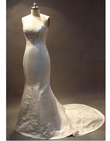 Elegant Mermaid Strapless Satin Embroider Beading Wedding Dress