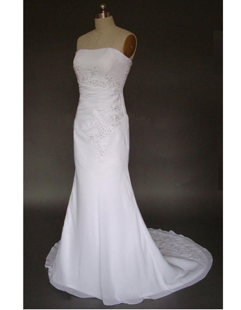 Exquisite Beading Appliques Strapless Chiffon Wedding Dresses for Summer Beach