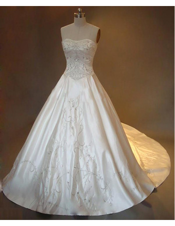 Luxurious A-Line Strapless Satin Wedding Dress with Crystal Beading Embroidered
