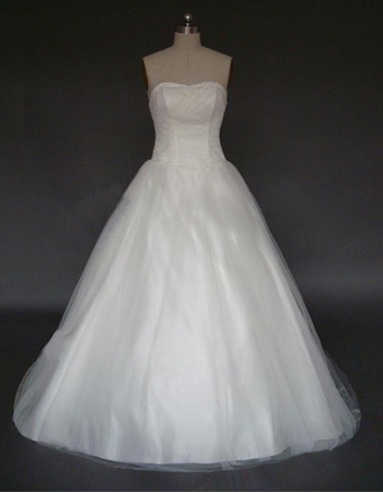 Affordable A-Line Strapless Chapel Satin Tulle Beading Wedding Dresses