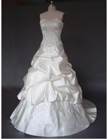 Gorgeous Pick-up Strapless Court Train Embellished Wedding Dresses
