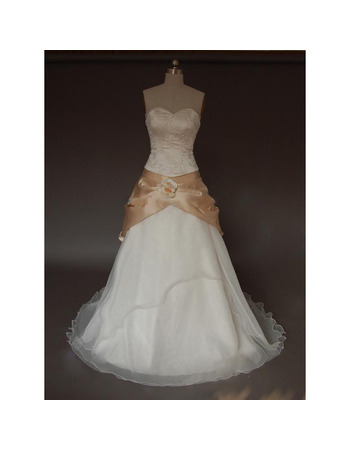 Modern A-Line Sweetheart Court Train Organza Wedding Dresses with Beading Appliques