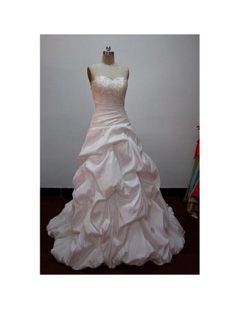 Modern Sweetheart Court train Pic-up Taffeta Wedding Dresses with Beaded Bodice