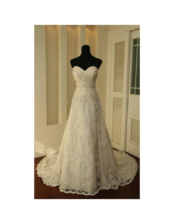 A-Line Sweetheart Court train Satin Wedding Dresses with Beaded Lace Skirt