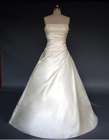 Elegant A-Line Strapless Court Train Satin Wedding Dresses with Beaded Bodice