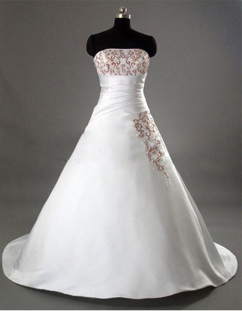 Affordable A-Line Strapless Asymmetrical Waistline Court train Satin Wedding Dresses