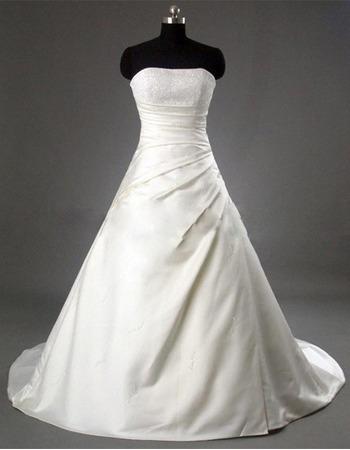 Classic A-Line Strapless Elegant Court train Satin Beading Bridal Gown