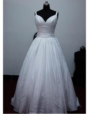 Classic A-Line Sweetheart Court train Satin Taffeta Wedding Dresses