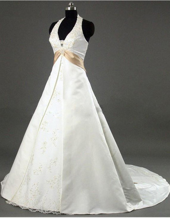 Classic Beaded Appliques A-Line Halter-neck Court Train Satin Wedding Dresses with Sash