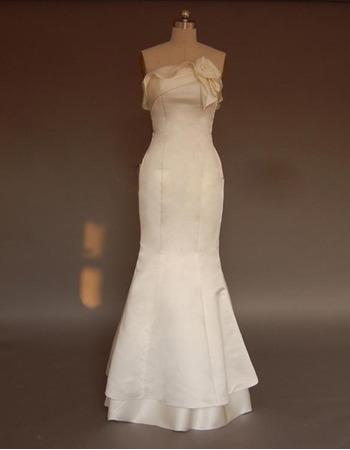 Glamorous Mermaid Ruffled Neckline Sweep train Satin Wedding Dresses