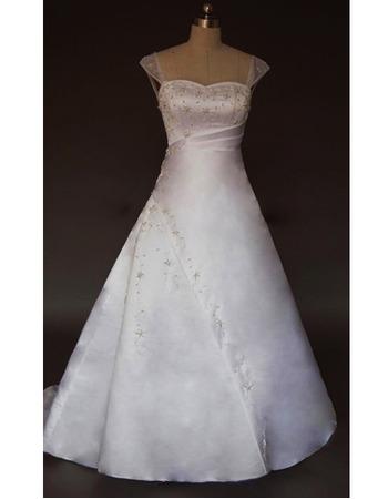 Delicate Elegant A-Line Court train Beaded Satin Wedding Dresses with Side Slit